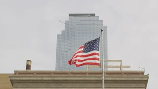 American Flag Blowing in the Wind in Dallas Texas