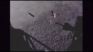 American Flag on Moon Surface