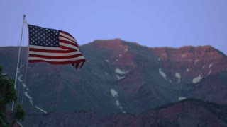 American Flag Waving in Front of Mountain 2