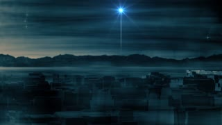 Ancient Bethlehem At Night. Christmas Advent Background. Star Of Bethlehem Video