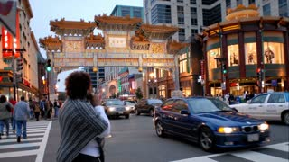 Ancient Chinatown Gate On Busy Street Corner