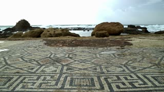Ancient Mosaic In Front Of Rocky Coastline