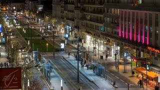 Angers, France Boulevard Foch Timelapse Night
