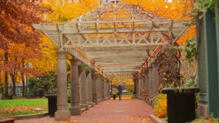Arched Walkway in City Square Autumn
