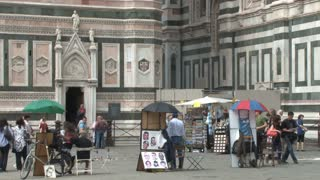 Artists and Tourists Around the Duomo Close Up