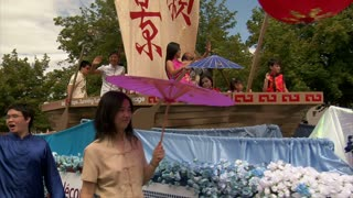 Asian People On Parade Float