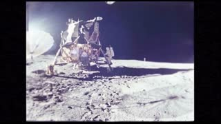 Astronaut Stepping Off Module Onto Lunar Surface