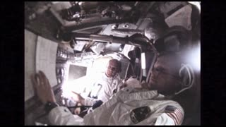 Astronauts in Control Room on Command Module
