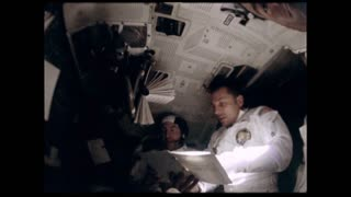 Astronauts Reading Manual on Apollo 12