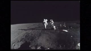 Astronauts Setting Up Experiments on Lunar Surface