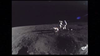 Astronauts Setting Up Soil Samples on Moon