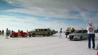 Audi Sedan Takes Off On Bonneville Salt Flats