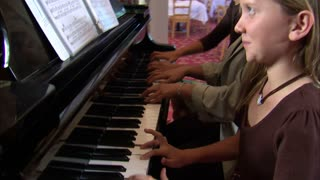 Aunt and Nieces Playing Piano 2