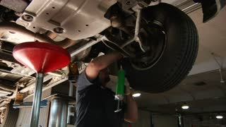 Auto Mechanic Working On Tires