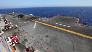 AV-8B Harrier Takeoff launch from flight deck