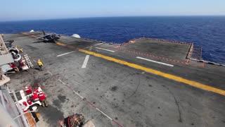 AV-8B Harrier Takeoff launch from flight deck
