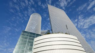 Azrieli Towers, largest business and commercial center in the Middle East, Tel Aviv, Israel, Time lapse
