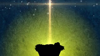 Baby In The Manger Large Christmas Background. Church Religious Advent Of Christ's Birth.