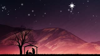 Baby Jesus Christmas Nativity Background. Winter Holidays Motion