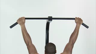 Back of Black Man Doing Pull Ups 3