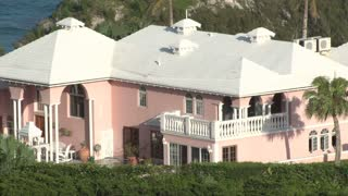 Backyard of Pink Mansion in Bermuda