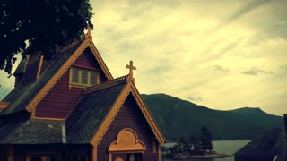 BALESTRAND, NORWAY CIRCA AUGUST2014: Indoors of Church St Olaf Stave - The english church in Balestrand. 4K
