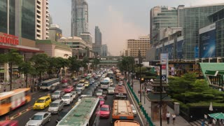 Bangkok business district traffic jam. Time lapse video