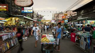 Bangkok Downtown Market on a busy trading day popular with tourists and locals, Thailand, Asia, T/Lapse