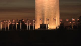 Base Of Washington Monument At Night