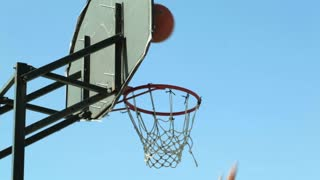 Basketball backboard. Up in the air