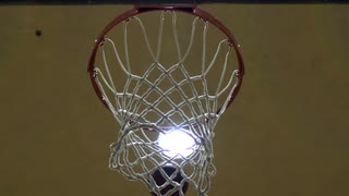 Basketball Shot in Slow Motion from Under Hoop