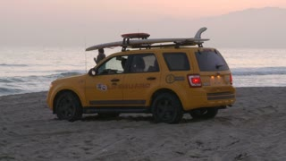 Beach Parked Lifeguard Car
