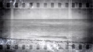 Beach Scene Through Old Filmstrip