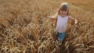Beautiful little girl walking through golden wheat field and smiling