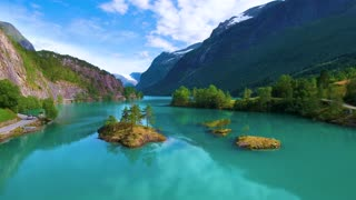 Beautiful Nature Norway natural landscape. Aerial footage lovatnet lake.