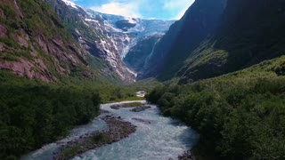 Beautiful Nature Norway natural landscape. Glacier Kjenndalsbreen.