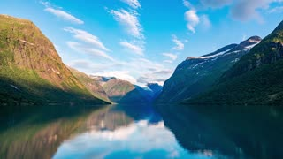 Beautiful Nature Norway natural landscape. lovatnet lake timelapse.
