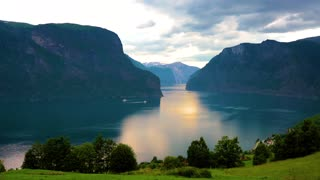 Beautiful Nature Norway natural landscape. Sognefjord or Sognefjorden, Norway Flam