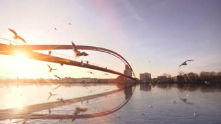 beautiful romantic sunset. bridge. water reflection. lake pond. slow motion