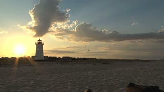 Beautiful Sunset and Lighthouse at Wide Beach