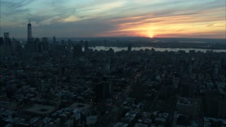 Beautiful Sunset Manhattan Skyline Aerial