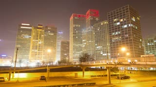 Beijing Central Business District night scene time lapse