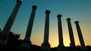 Beit Shean Ruins and Columns Silhouette