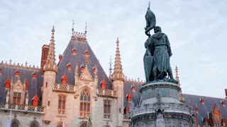 Belgium, Brugge, Town Square, Medium shot time lapse clouds over Provincial Government Palace