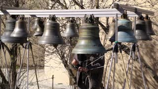 Bellringer rings the bells. Yaroslavl, Russia.