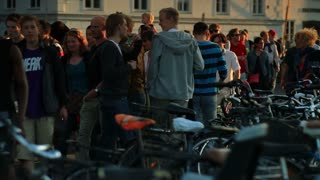 Bicycle Rack and Crowd of People