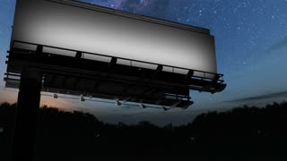 Billboard and Milky Way stars at night. Elements of this image furnished by NASA