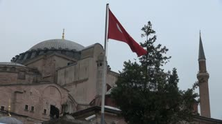Bird Lands on Turkish Flagpole at Hagia Sophia