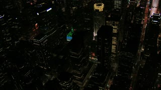 Birds Eye View of New York City Night Buildings