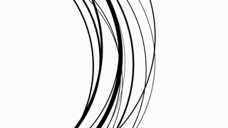 Black abstract arcs undulating over white